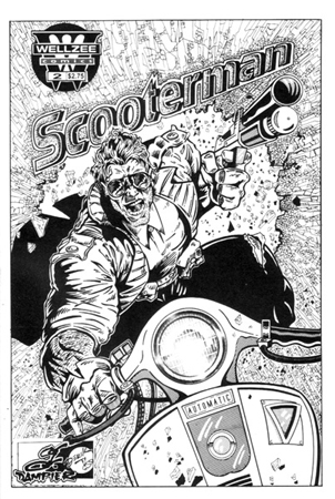 Scooterman Cover BW by Greg Dampier - Illustrator & Graphic Artist of Portland, Oregon