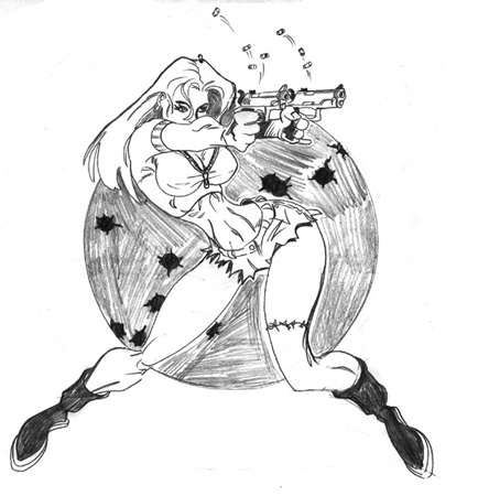 Shooting Babe - Pencils by Greg Dampier - Illustrator & Graphic Artist of Lake Wales, Florida