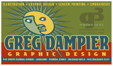 Old Business Card by Greg Dampier - Illustrator & Graphic Artist of Lake Wales, Florida