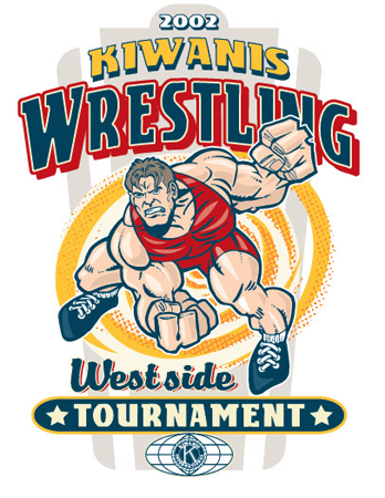 Kiwanis - Wrestling by Greg Dampier - Illustrator & Graphic Artist of Portland, Oregon