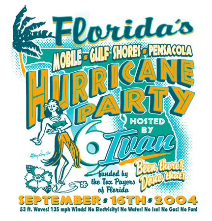 Florida Hurricane Party by Greg Dampier - Illustrator & Graphic Artist of Portland, Oregon
