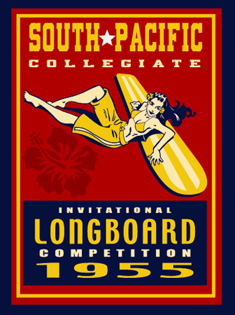South Pacific Longboard Competition by Greg Dampier - Illustrator & Graphic Artist of Portland, Oregon