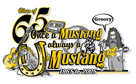 Class of 65 - Always a mustang by Greg Dampier - Illustrator & Graphic Artist of Lake Wales, Florida