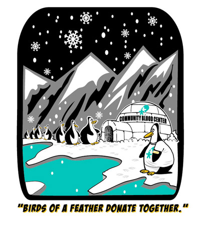 Birds of a feather donate together by Greg Dampier - Illustrator & Graphic Artist of Portland, Oregon
