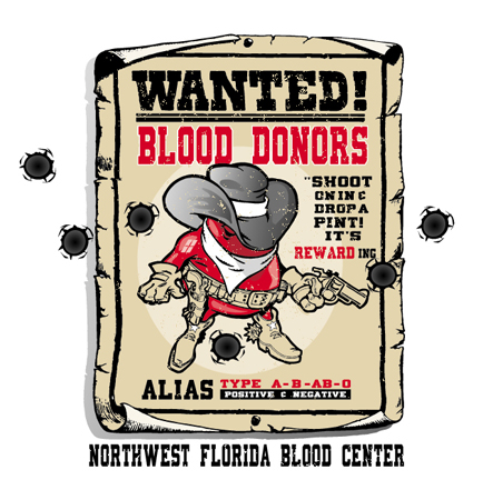 Wanted Blood Donors by Greg Dampier - Illustrator & Graphic Artist of Portland, Oregon