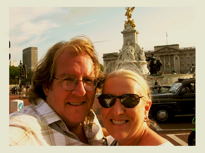 maz and greg at buckinham palace london by Greg Dampier - Illustrator & Graphic Artist of Lake Wales, Florida