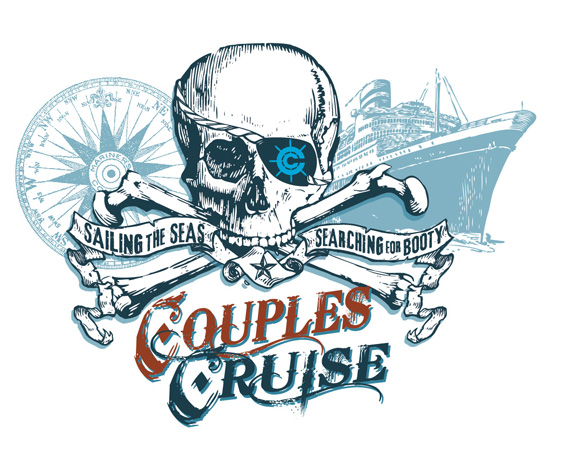 Couples cruise pirate tee by Greg Dampier - Illustrator & Graphic Artist of Lake Wales, Florida