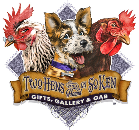 @hens and a hound logo illustration by Greg Dampier - Illustrator & Graphic Artist of Lake Wales, Florida