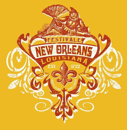 New Orleans Crest ladies Tee by Greg Dampier - Illustrator & Graphic Artist of Portland, Oregon