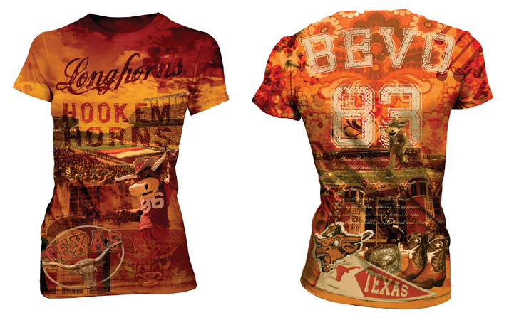 texas Longhorns stadium tee by Greg Dampier - Illustrator & Graphic Artist of Lake Wales, Florida
