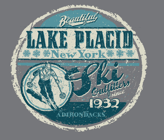 lake Placid Ski Label by Greg Dampier - Illustrator & Graphic Artist of Portland, Oregon