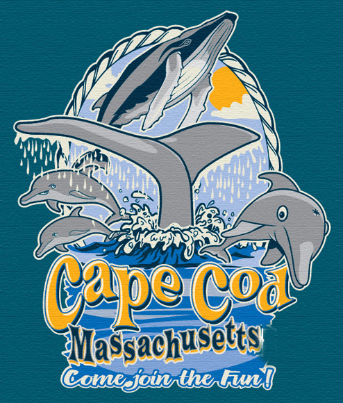cape cod dolphin and whale wathers tee by Greg Dampier - Illustrator & Graphic Artist of Portland, Oregon
