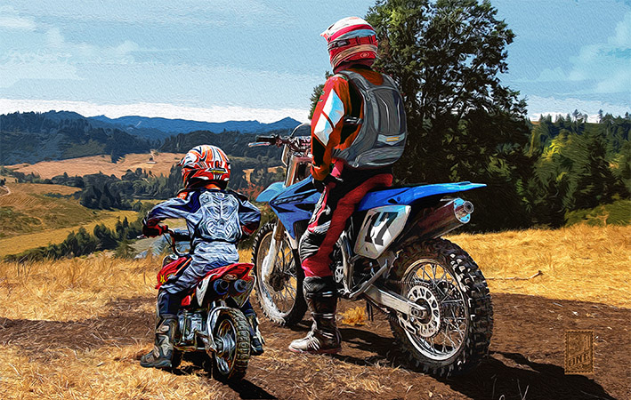 Father & Son Dirtbikes 2 by Greg Dampier - Illustrator & Graphic Artist of Portland, Oregon