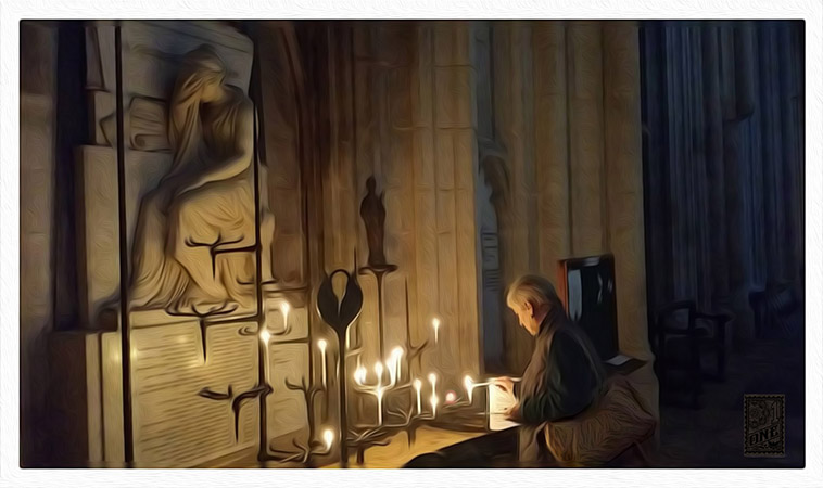 Maz lighting candle for peace Winchester Cathedral by Greg Dampier - Illustrator & Graphic Artist of Portland, Oregon