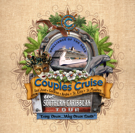 Couples Cruise Porthole design 1 by Greg Dampier - Illustrator & Graphic Artist of Portland, Oregon