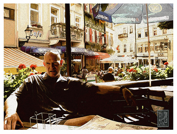 Opera singer Tom Fox in a cafe Baden Baden by Greg Dampier - Illustrator & Graphic Artist of Portland, Oregon