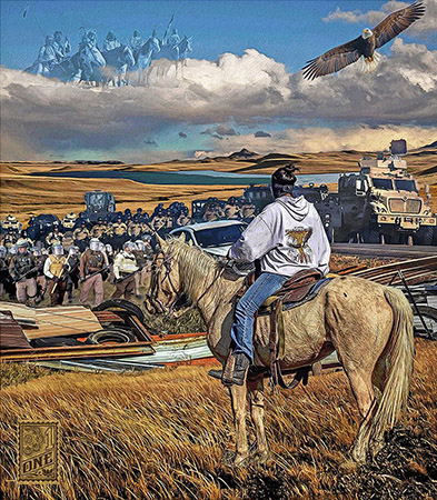DAPL Protest water protectors Greg Dampier by Greg Dampier - Illustrator & Graphic Artist of Lake Wales, Florida