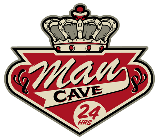 man Cave with crown Sign art by Greg Dampier - Illustrator & Graphic Artist of Portland, Oregon