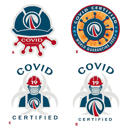 Covid Cert stickers by Greg Dampier - Illustrator & Graphic Artist of Portland, Oregon