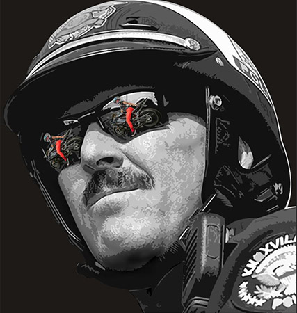 triffic Cop visions bw by Greg Dampier - Illustrator & Graphic Artist of Portland, Oregon