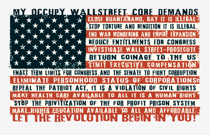 Ocupy Wallstreet Core Demands flag by Greg Dampier - Illustrator & Graphic Artist of Portland, Oregon