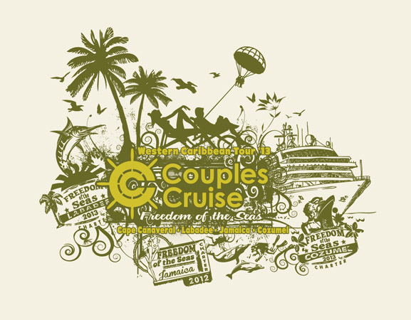 Couples cruise design 3 by Greg Dampier - Illustrator & Graphic Artist of Portland, Oregon