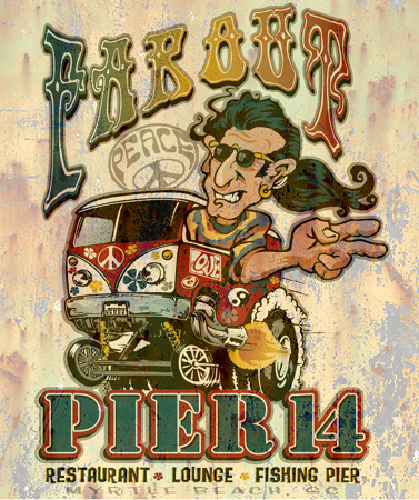 pier 14 hippy by Greg Dampier - Illustrator & Graphic Artist of Lake Wales, Florida