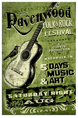 ravenwood Fold Rock music fest poster by Greg Dampier - Illustrator & Graphic Artist of Lake Wales, Florida