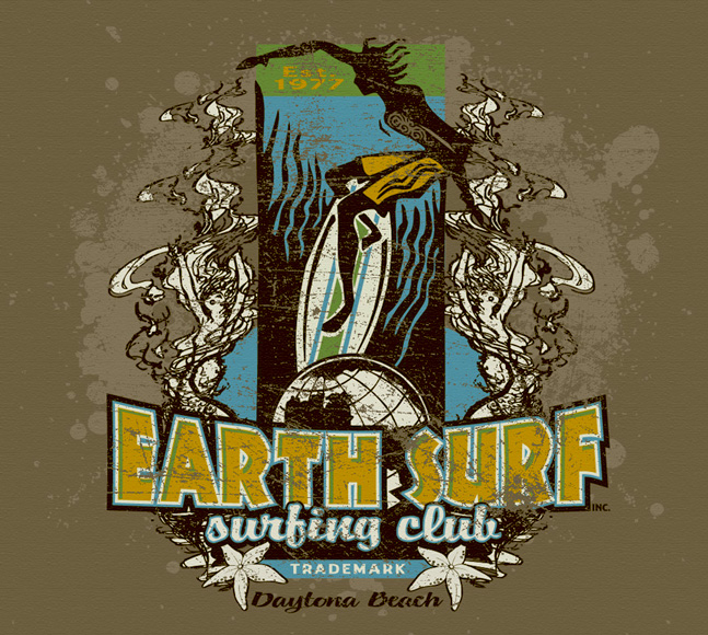 eart surf surfing club tee by Greg Dampier - Illustrator & Graphic Artist of Lake Wales, Florida