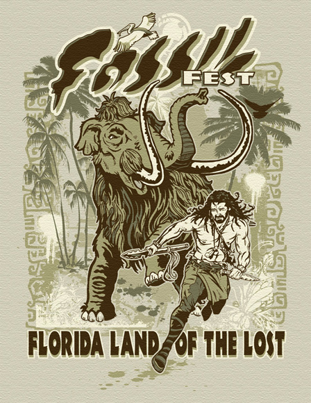 fossil fest tee by Greg Dampier - Illustrator & Graphic Artist of Lake Wales, Florida