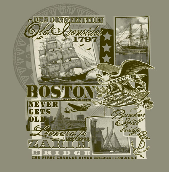 boston never gets old tee by Greg Dampier - Illustrator & Graphic Artist of Lake Wales, Florida