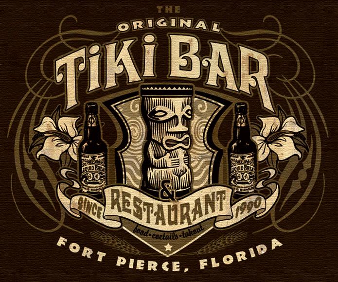 Branding tiki bar and restaurant tee 2 by greg dampier for Restaurant t shirt ideas