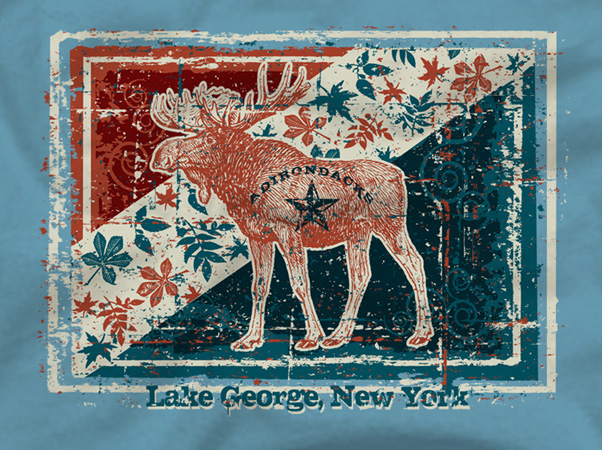 Lake george moose rustica box by Greg Dampier - Illustrator & Graphic Artist of Portland, Oregon