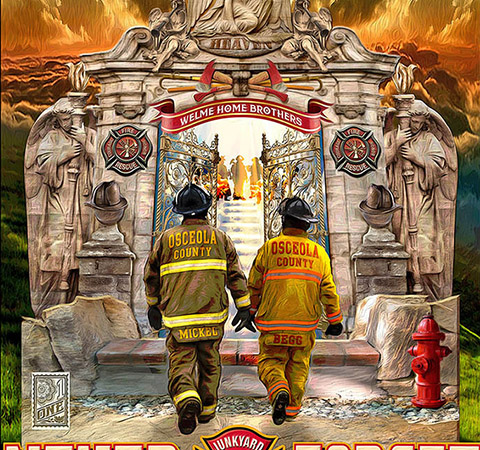 Oceola Co Fallen Firefighters memorial close by Greg Dampier - Illustrator & Graphic Artist of Lake Wales, Florida