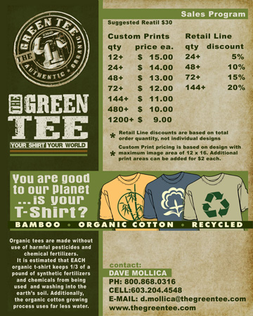 green tee flier by Greg Dampier - Illustrator & Graphic Artist of Portland, Oregon