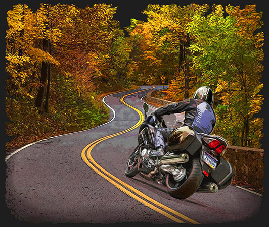 Winding roads motorcycle by Greg Dampier - Illustrator & Graphic Artist of Portland, Oregon