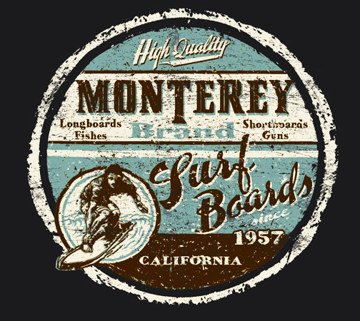 Monterey brand blue maroon by Greg Dampier - Illustrator & Graphic Artist of Portland, Oregon