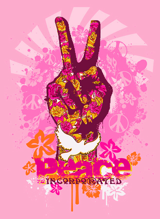 peace fingers dove by Greg Dampier - Illustrator & Graphic Artist of Lake Wales, Florida