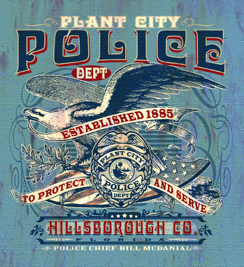 plant city police tee by Greg Dampier - Illustrator & Graphic Artist of Portland, Oregon