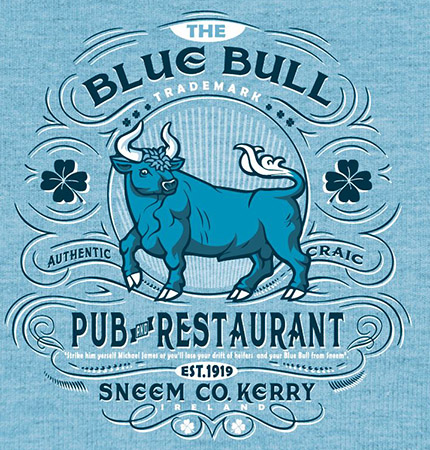 Blue Bull Pub version 2 by Greg Dampier - Illustrator & Graphic Artist of Portland, Oregon