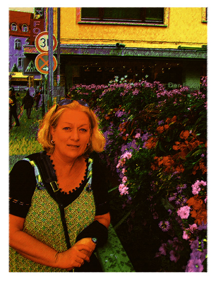 maz and flowers in  heidleberg germany by Greg Dampier - Illustrator & Graphic Artist of Lake Wales, Florida
