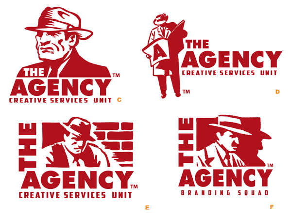 The Agency potential logos by Greg Dampier - Illustrator & Graphic Artist of Portland, Oregon