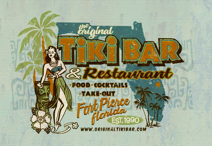 tiki bar and restaurant tee by Greg Dampier - Illustrator & Graphic Artist of Portland, Oregon