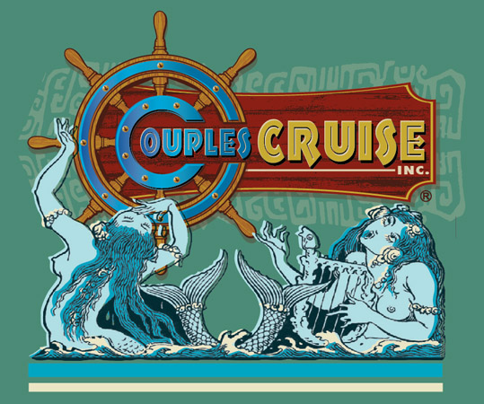 couples cruise mermaids sign art by Greg Dampier - Illustrator & Graphic Artist of Portland, Oregon