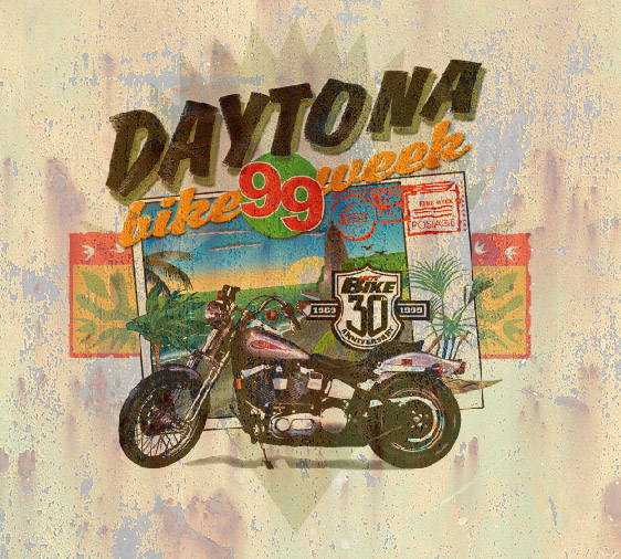 daytona bike week by Greg Dampier - Illustrator & Graphic Artist of Portland, Oregon