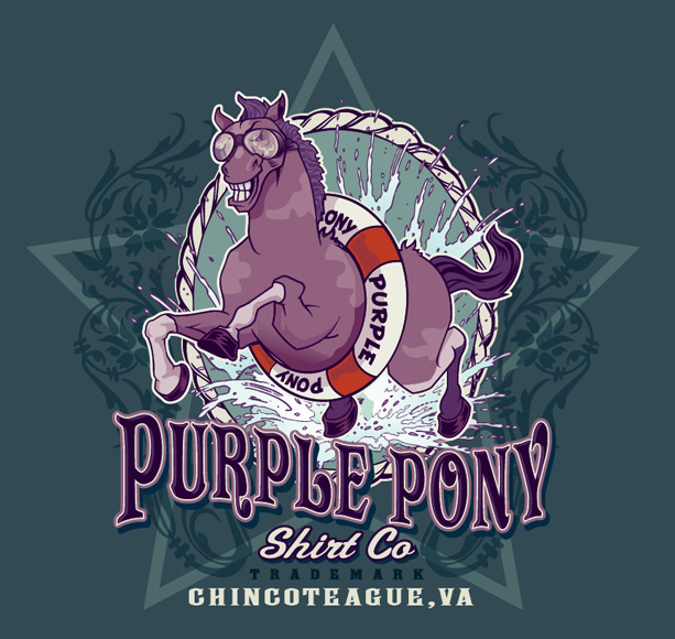purple pony shirt co by Greg Dampier - Illustrator & Graphic Artist of Portland, Oregon