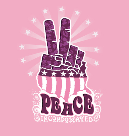 peace fingers pink and purple by Greg Dampier - Illustrator & Graphic Artist of Lake Wales, Florida