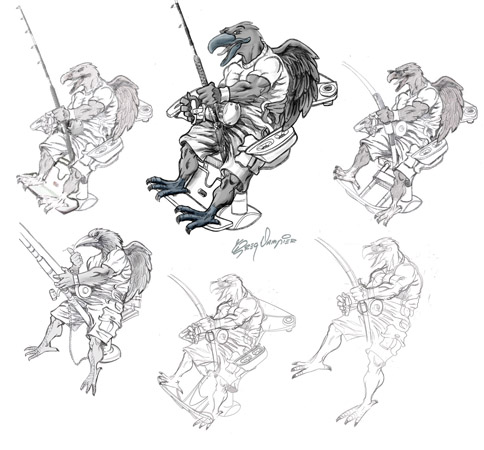 raven sketches pose comp by Greg Dampier - Illustrator & Graphic Artist of Lake Wales, Florida