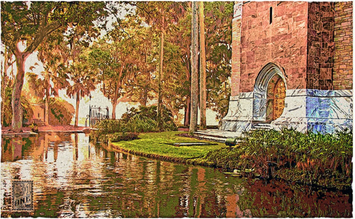 Bok Tower base gardens reflection pond by Greg Dampier - Illustrator & Graphic Artist of Lake Wales, Florida