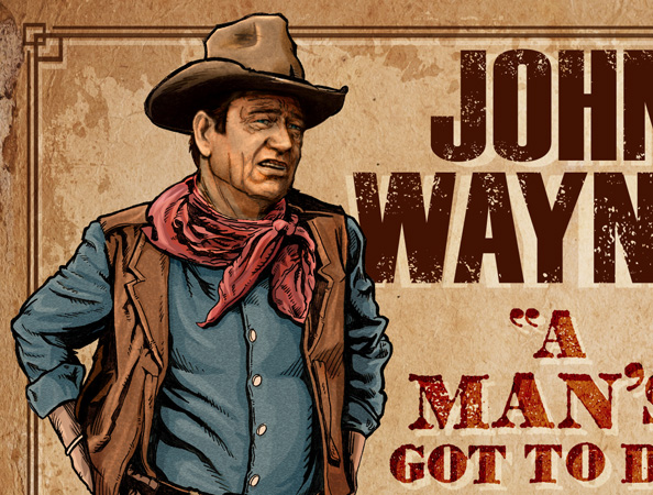 John Wayne Poster artwork closeup b by Greg Dampier - Illustrator & Graphic Artist of Portland, Oregon